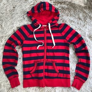 So Red/Blue Striped Soft Zip Up Hoodie